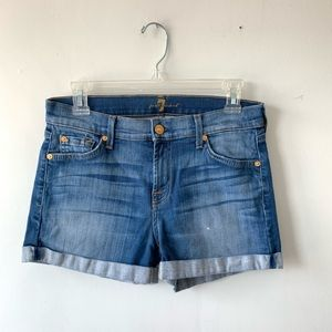 7 For All Mankind Cotton Blend Cuffed Shorts 26